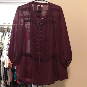 Maroon sheer blouse size 18/20